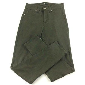 7 For All Mankind Green Faux Suede Skinny Jeans